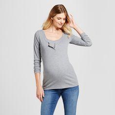 f691eb1403c23 Maternity Long Sleeve Nursing Henley - Isabel Maternity by Ingrid   Isabel  Heather Gray S