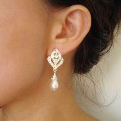 Vintage Earrings Art Deco Rhinestone Pearl