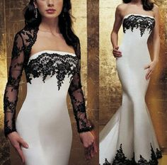 2013 NEW Sexy White& Black Lace Wedding Dress gown Evening Formal ball dress free Long Sleeve Lace jacket on Etsy, $149.00