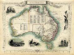 Old map of Australia Antique Australia map Print 16 x 21 Vintage Maps, Antique Maps, Vintage Wall Art, Vintage Posters, Australia Continent, Australia Map, Sydney Map, World Atlas Map, Birds Eye View Map