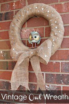 Vintage Owl Burlap Wreath... OMG OWL!!!!!!! I want one!!