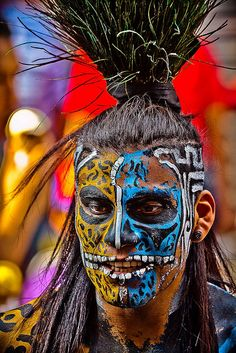 portrait of a Mayan warrior with his face painted(street performers)-mexico city-mexico by anthony pappone photographer, via Flickr