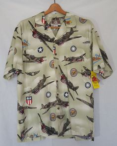 1b1c898e NWT Kalaheo Hawaiian Shirt Sz Large WW2 Fighter Planes Mens Green Made in  USA #Kalaheo