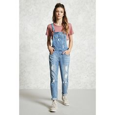 Forever21 Distressed Denim Overalls (47 CAD) ❤ liked on Polyvore featuring jumpsuits, forever 21, forever 21 jumpsuit, overalls jumpsuit, forever 21 overalls and bib overalls