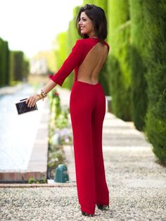 Red Backless Cocktail Jumpsuit # Trends Of Fall Apparel Cocktail Jumpsuits Jumpsuit Red Jumpsuit Backless Jumpsuit Clothing Jumpsuit 2014 Jumpsuit Outfits Jumpsuit How To Style Fashion Mode, Look Fashion, Winter Fashion, Womens Fashion, Red Fashion, Pastel Fashion, Fashion Blogs, Fashion 2018, Fashion Clothes