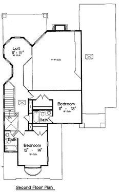 Second Floor Plan of Italian   Mediterranean   House Plan 64616