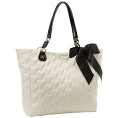 Betsey Johnson Mine & Yours Cream Quilted Tote Handbag for $128.00 - in Bags