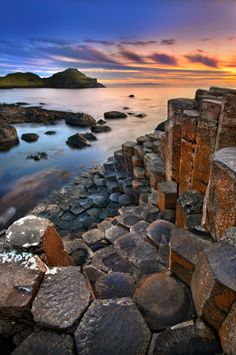 Golden Sunset & Giant's Causeway, Antrim Ireland