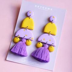 Keygems is a jewellery brand showcasing pieces made using a variety of methods, materials and styles. Diy Earrings Polymer Clay, Fimo Clay, Polymer Clay Projects, Fancy Jewellery, Statement Earrings, Dangle Earrings, Clay Design, Porcelain Clay, Crafty