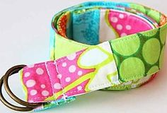 Scrap-Pieced Belt by Ashley Johnston     Add splashes of color to any outfit with this vibrant and eco-friendly scrap-pieced belt. Gather a pile of your favorite colored fabric scraps – coordinating or contrasting – and create a one-of-a-kind belt without any new fabric