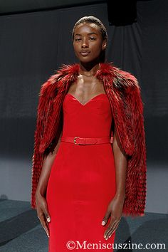 Mathieu Mirano Spring 2014: Red Crepe Cocktail Dress with Red Leather Belt and Red Feathered Silver Fox Cropped Jacket. Source: Meniscus Magazine http://www.meniscuszine.com/articles/2014012825940/mathieu-mirano-spring-2014/ #mathieumirano #nyfw #spring2014