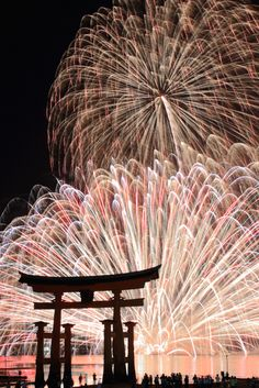 Fireworks at Itsukushima Shrine, Miyajima: photo by yama - Since ancient times, Miyajima Island has been worshipped as a God. This belief, passed down for generations has protected this beautiful site and renowned for being a World Cultural Heritage site today. 厳島神社