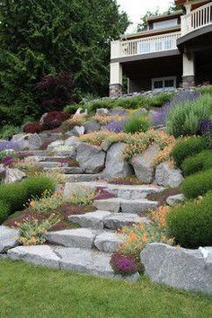 I love these stone steps / plantings: Bliss Garden Design& Design Ideas # . - I love these stone steps / plantings: Bliss Garden Design& Design Ideas - Sloped Backyard Landscaping, Sloped Garden, Landscaping With Rocks, Landscaping Ideas, Backyard Ideas, Patio Ideas, Backyard Patio, Landscaping Plants, Florida Landscaping