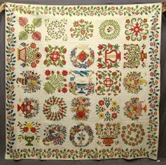 "Rare 19th c. Baltimore album quilt, C. 1845. Features a variety of classic album quilt motifs and signatures of Baltimore residents. Some names on quilt include Louisa Blessing, Elizabeth Sharp etc. 98"" x 99"".  Sold  for  28,250.00.  ~♥~"