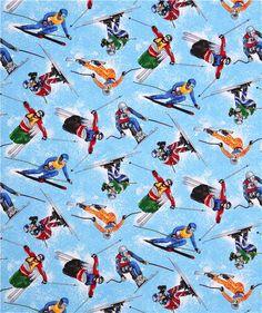 blue ski freeskier sports fabric by Timeless Treasures USA 4