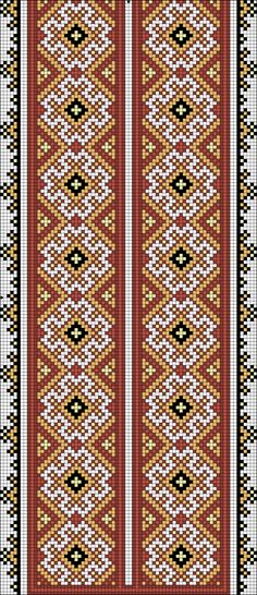 Beading _ Pattern - Motif / Earrings / Band ___ Square Sttich or Bead Loomwork ___ Gallery. Cross Stitch Art, Cross Stitch Borders, Cross Stitch Designs, Cross Stitching, Cross Stitch Embroidery, Cross Stitch Patterns, Border Embroidery Designs, Hand Embroidery Patterns, Knitting Patterns