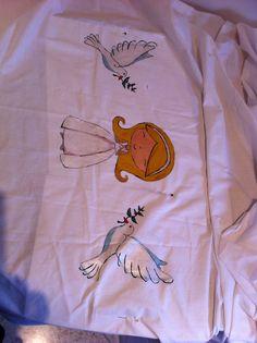 Detalles del mantel comunión. Pintado a mano
