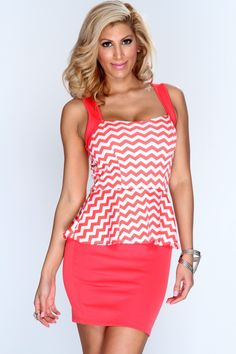 Sugar, spice, and everything nice! This sexy dress is everything you want and more. Its great for those fun nights out with your girls or those hot dates with your hubby! Dont let this sizzling hot dress pass you by! Its a must have for your collection of dresses! Featuring two toned chevron print, peplum style, square neckline, sleeveless, back cutout, and finished with a sexy tight fit. 95% polyester 5% spandex. Made in USA