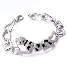New Fashion Whirling Leopard Plated White Gold Bracelet