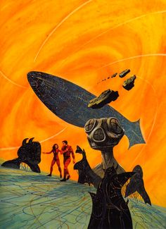 JACK GAUGHAN - art for Gateway III - Beyond the Gate Pt 1 (Heechee) by Frederik Pohl - Jan 1984 Amazing Stories Magazine