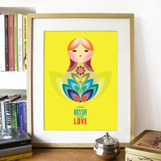 MATRIOSKA doll Illustration Poster in Yellow  A3 by PeanutoakPrint, $23.00