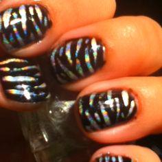 Hologram zebra nail art