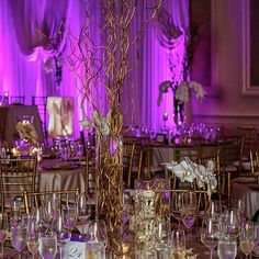 Brilliant purple #uplighting at this exquisite #wedding reception! Photo via #ModWedding