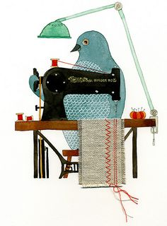 I do believe that is a pigeon...sewing....ah yes!