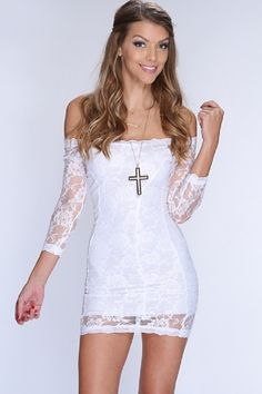 white lace dress off the shoulder