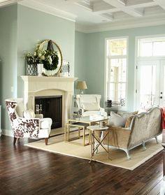 Spring decor in formal living room {Sherwin Williams Rainwashed}