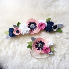 Felt Flower crown // blush and navy full or mini by BakerBlossoms