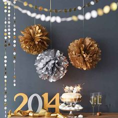 I've just found Metallic Hanging Pom Pom Decoration. Luxury metallic tissue paper pom pom decorations for a perfectly chic celebration by Pearl and Earl. Pom Pom Decorations, New Years Decorations, Elegant Party Decorations, Wedding Decoration, New Year's Eve Celebrations, New Year Celebration, Holidays And Events, Happy Holidays, Holidays Events