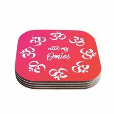 "KESS Original ""With My Omies Pink"" Coral Magenta Coasters (Set of 4)"