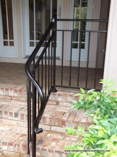 Chapel Hill Custom Wrought Iron Interior Railings - Raleigh Wrought Iron Co. Porch Step Railing, Wrought Iron Porch Railings, Rod Iron Railing, Porch Handrails, Outdoor Stair Railing, Iron Handrails, Wrought Iron Stair Railing, Railing Ideas, Banisters