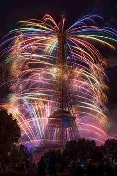 Eiffel Tower Lit By Fireworks