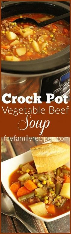 The easiest soup you will ever make. This vegetable beef soup is one of … The easiest soup you will ever make. This vegetable beef soup is one of my favorite meals to do in the Crock Pot because it's just SO easy! Crockpot Dishes, Crock Pot Soup, Crock Pot Slow Cooker, Crock Pot Cooking, Slow Cooker Recipes, Crockpot Recipes, Soup Recipes, Cooking Recipes, Recipies