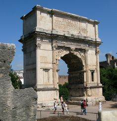 "The arch of Titus built in Rome in 81 CE. On top it says"" The Senate and the Roman people to the Deified Titus Vespasian Augustus, son of the Deified Vespasian."" This was made to honor the victory and death of Titus."