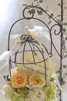 リングピロー/ブリーズ -brise- ブラウン・フレ Wedding Photos, Wedding Ideas, Ring Pillow Wedding, Wedding Welcome Signs, How To Preserve Flowers, Bird Cages, French Provincial, Beautiful Birds, Bouquet
