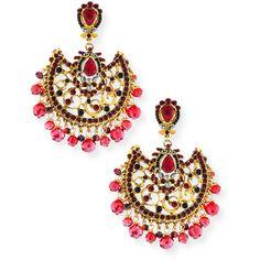 Jose & Maria Barrera Fan Scroll Chandelier Earrings (€370) found on Polyvore featuring jewelry, earrings, gold, chandelier clip earrings, red earrings, jose & maria barrera jewelry, jose maria barrera earrings and red clip earrings