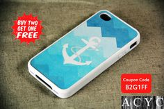 Sky Blue And White Anchor Chevron Pattern iPhone 5C / 5S / 5 / 4S / 4 Tough Rubber and Soft Case, iPod Case on Etsy, $7.99