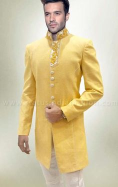 sherwani for men, sherwani uk, Asian clothes, yellow wedding sherwani, linen sherwani indo western, yellow indowestern sherwani, mens wedding sherwani www.statusindiafashion.com