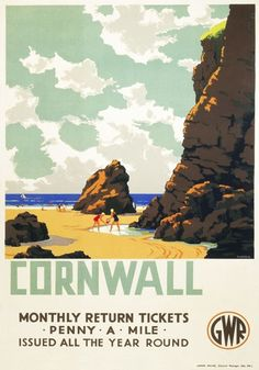 """Vintage GWR Travel poster by Leonard Cusden. 1935 English Railway Travel Poster Print, Cornwall, """"The Cornish Riviera"""" England by GWREnglish Railway Travel Poster Print, Cornwall, """"The Cornish Riviera"""" England by GWR Posters Uk, Train Posters, Railway Posters, Online Posters, Vintage Travel Posters, Poster Prints, Gig Poster, Retro Posters, Movie Posters"""