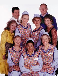 Julie and the Dinnerladies cast. British Tv Comedies, Classic Comedies, British Comedy, Celia Imrie, Victoria Wood, Uk Tv Shows, Julie Walters, Vintage Television, Comedy Tv