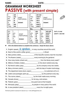 Quality ESL grammar worksheets, quizzes and games - from A to Z - for teachers & learners PASSIVE Grammar Quiz, Teaching English Grammar, Grammar Practice, English Grammar Worksheets, English Verbs, Grammar And Vocabulary, Grammar Lessons, English Language Learning, English Vocabulary