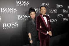 Jasmine Chow and Chow Yun-Fat (Outfit: BOSS Selection) attending the BOSS Black Fashion Show Beijing 2012.