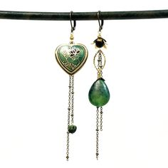 Asymmetrical cloisonne verde heart earrings – TOODLEBUNNY