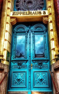 Hamburg, Germany. blue double doors. zippelhaus