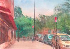 bright sunny day city watercolor - Google Search