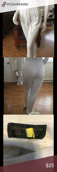 """A New York State Of Mind Donna Karan New York Essentials. White 100% Cotton Knit Pants. Waist has elastic, 24"""" can fit up to 28"""" inseam is 30"""" without cuffed. The pants have been dry cleaned already. There is a stain on the front tie. That I'm sure can be removed. Dry clean only is recommended/ cool iron, use press cloth. Donna Karan Essentials Pants Ankle & Cropped"""