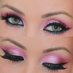 Pink shadow cat eyeliner